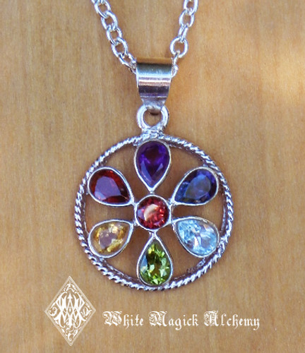 Chakra Sterling Silver Gemstone Tear Drop Pendant