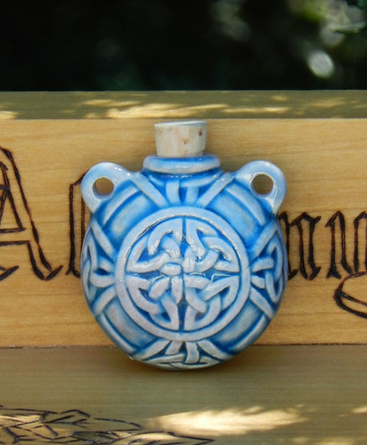 Celtic Ceramic Bottle . Spell Oils, Diffuser, Ashes, Pendant