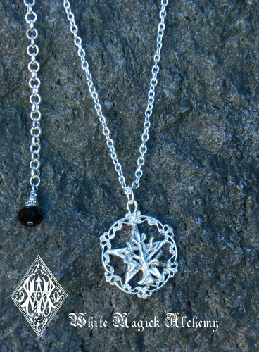 Pentacle Tree of Life Pendant Necklace Solid Sterling Silver Black Crystal Drop