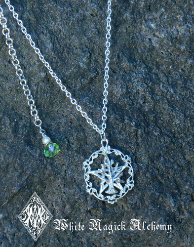 Pentacle Tree of Life Pendant Solid Sterling Silver Citron Crystal Drop