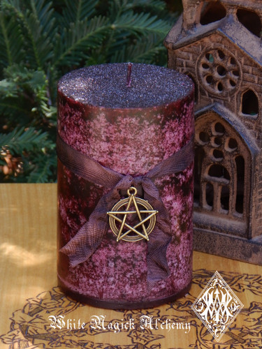 Ancient Mystery Magick Pillar Candle with Bronze Pentacle Pendant