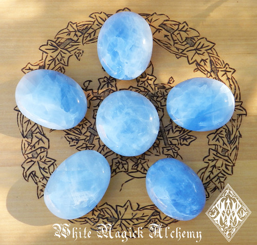 Blue Calcite Gemstone Palm Stones Healing, Anxiety, Stress