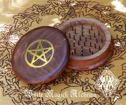 Wooden Herb Grinder Brass Pentacle Pentagram