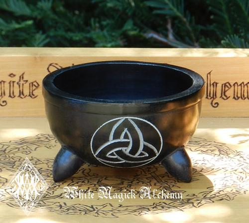 Triquetra Black Stone Cauldron Smudge Pot