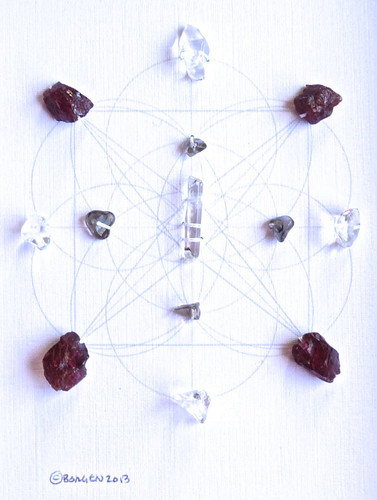 Crystal Grid GROUNDING AND BALANCE with Crystal Quartz, Garnet and Smokey Quartz
