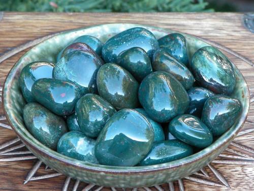 Bloodstone Tumbled Gemstone . Medium Set of Two . Healing, Success, Protection, Prosperity, Justice, Creativity, Talent