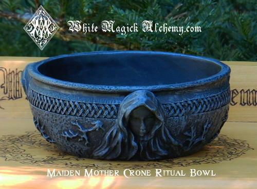Maiden Mother Crone Ritual Offering Scrying Bowl in Black