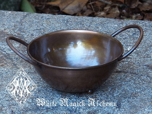 Rustic Copper Ritual Offering Bowl Burner w/ Handles