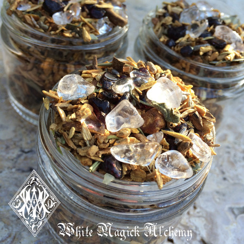 *Shamans Crystal Incense Potion . Sacred Wood Smudging Incense Blend with Palo Santo, Sage, Herbs and Crystals, Clearing, Banishing