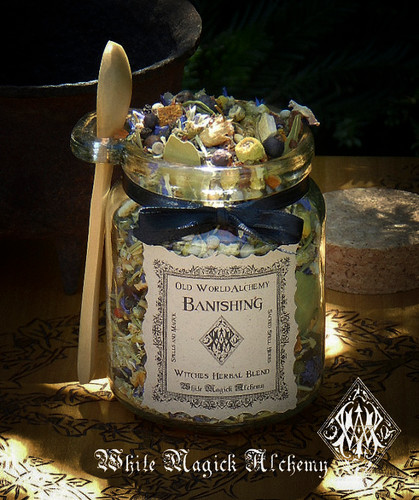 BANISHING Proprietary Herbal Spell Blend 8.5 Ounce Jar with Wooden Spoon
