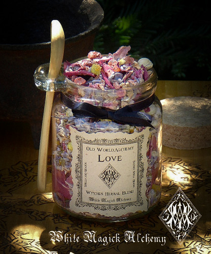 LOVE POTION Proprietary Herbal Spell Blend 8.5 Ounce Jar with Wooden Spoon