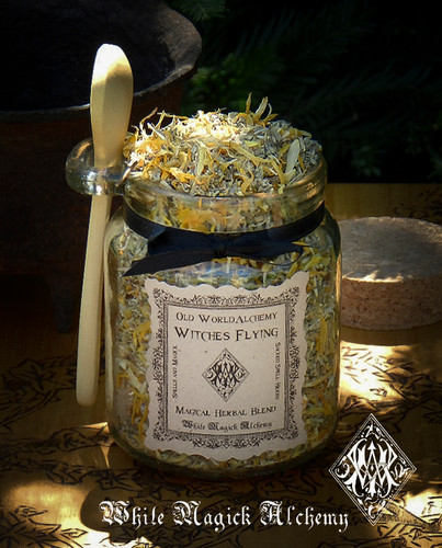 WITCHES FLYING Proprietary Trance Herbal Spell Blend 8.5 Ounce Jar with Wooden Spoon