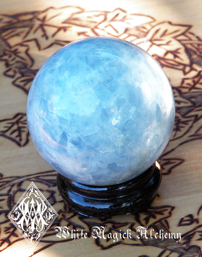 "Blue Calcite Crystal Gemstone Sphere Big 3"". Double Power, Enhanced Memory, Anxiety, Energy, Immune System, Blood Pressure"