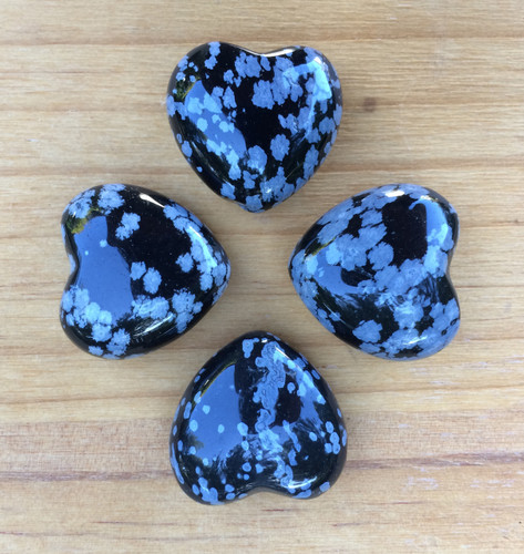 Snowflake Obsidian Gemstone Heart . Protection, Balance, Stress, Anxiety