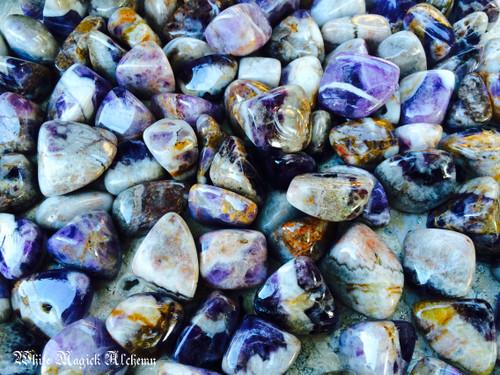 Black Amethyst Crystal Tumbled Gemstones Large Set of 2