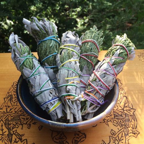 "White Sage & Cedar 5"" Smudge Wands Wildcrafted"