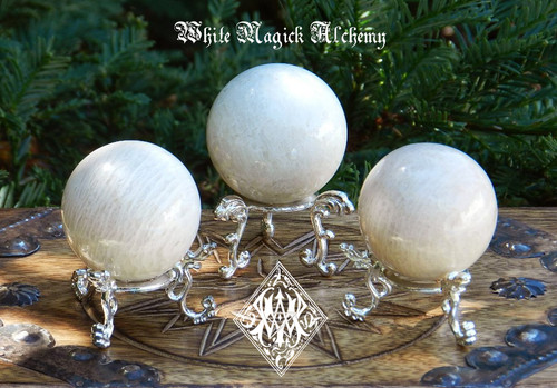 "Moonstone Spheres 2"" to 2.5"" for Protection, Divination, Love, Wishes, Peace, Harmony"