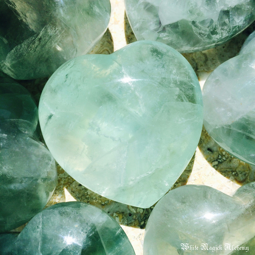 Green Fluorite Gemstone Hearts XLarge Puffy