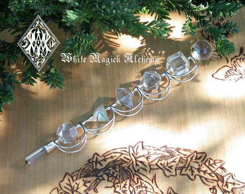 Sacred Geometry Gemstone Wands . 5 Hand Cut Stones, Quartz, Rose Quartz, Amethyst