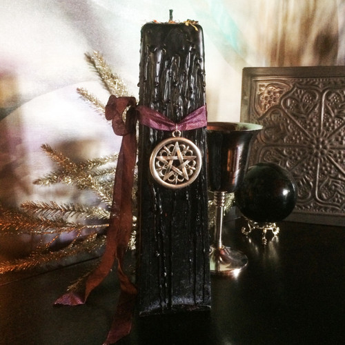 * Goddess Torch Pillar for Divine Power and Enlightenment with Silver Pentacle Pendant