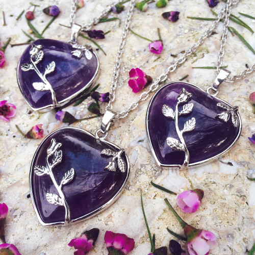 Ametrine Gemstone Heart Pendants for Peace, Love, Abundance & Success