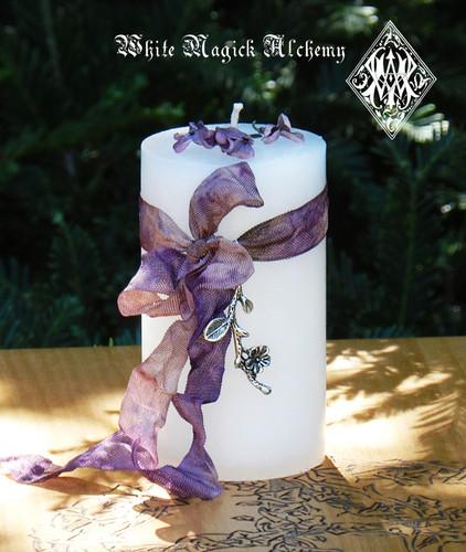 White Oleander Poison Flower Spell Candle for Warding