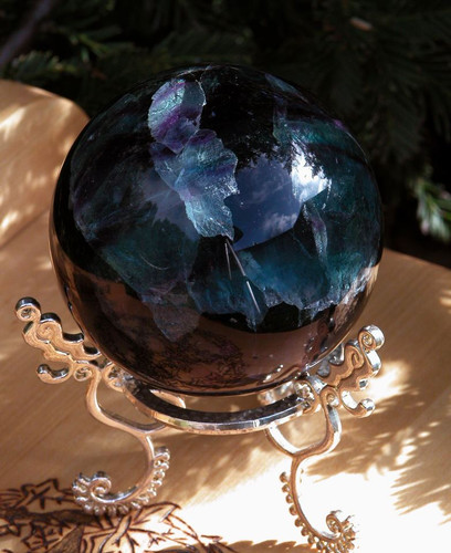 """Fluorite Sphere 2.5"""" Gorgeous Large AA Gem Top Quality . Psychic Shielding, Protection, Healing, Reduces Stress and Anxiety"""