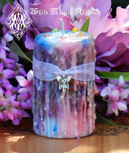 Faerie Muse . Herbal Alchemy Magick Candle . Ambrosia . For Faerie Magick, Sight, Nature Spirit Workings