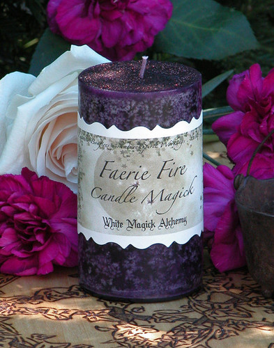 Faerie Fire . White Magick Alchemy Pillar Candle . Enhance Night Visions, Nature Spirit Workings, Divination, Wishes . With Honey, Lemon Cream, Bergamot, Violet