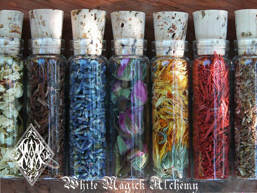Organic Herbal Old World Alchemy Sacred Herb and Flower Vials . Set of 6 . Your Choice