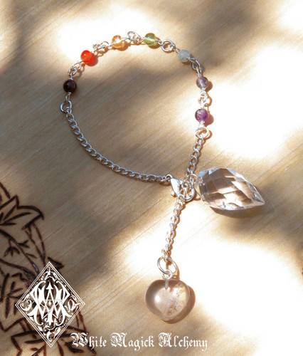 Chakra Pendulum Bracelet with Crystal Quartz Divination Point