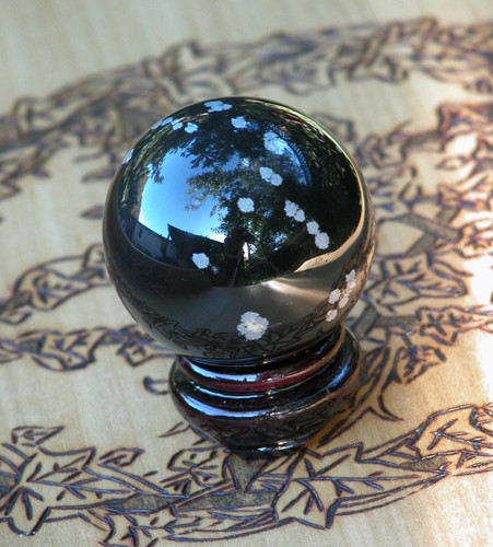Snowflake Obsidian Crystal Gemstone Sphere . Peace, Balance, Change, Growth, Deflecting Negative Energies, Stress and Anxiety