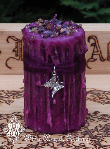Witches Path . Herbal Alchemy Magick Candle WithAmethyst, Heartwood Resins . Transformation, Change, New Beginnings, Spiritual Journeys