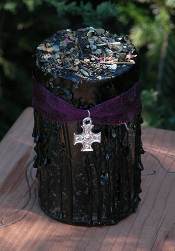 Karmic Retribution . Herbal Alchemy Magick Candle for Banishing Negative Influence, Psychic Vampires, Curses, Hexes, Violence, Ex-Lovers