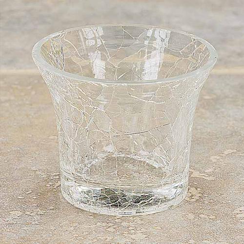 Sparkling Crackle Glass Crystal Glow Votive Holder ~ For Votive Candles and Tealights