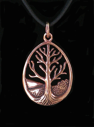 Ancient Tree of Life Pendant in Bronze . A Symbol of Life and Knowledge