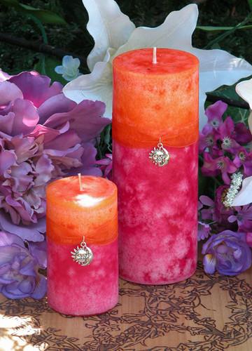 Summer Sunset Pillar Candles . Summer Solstice, Evening Illumination, Love . Grapefruit, Lemon Verbena, Lime, Lily, Creamy Vanilla Sugar