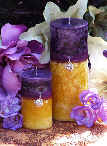 Purple Sun Sunset Pillar Candle .  Spring, Summer Solstice, Evening Illumination, Love. Exotic Wild Jasmine, Orange Honey, Spring Flora, Vanilla Bean