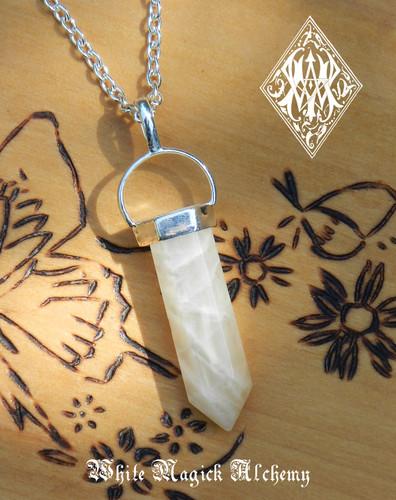 Moonstone Pendulum Necklace Crystal Gemstone Feminine Energy, Love, Peace, Intuition, Mental Clarity, Protection
