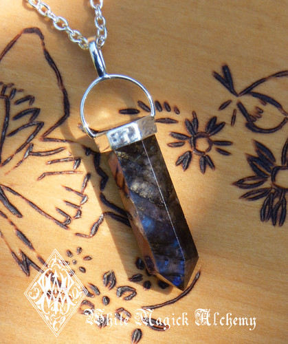 Labradorite Pendulum Necklace . Crystal Gemstone For Intuition, Strength, Anxiety, Depression, Self-Confidence, Healing