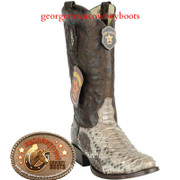 Los Altos Python Round Toe Boots Genuine Snakeskin Handcrafted