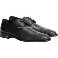 Men's Vestigium Genuine Caiman Belly Derby Shoes Handcrafted 7ZV038205
