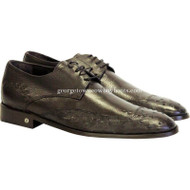Men's Vestigium Genuine Ostrich Derby Shoes Handcrafted 7ZV030307