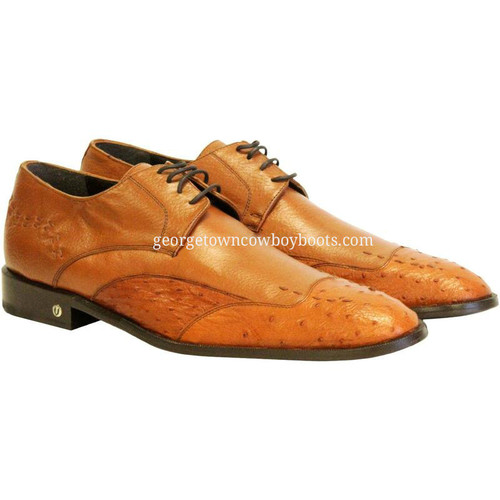 Men's Vestigium Genuine Ostrich Derby Shoes Handcrafted 7ZV030303