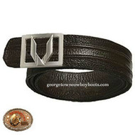 Vestigium Ostrich Belt W Interchangeable Gold & Silver Buckles 7C150307