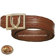 Vestigium Ostrich Belt W Interchangeable Gold & Silver Buckles 7C150303