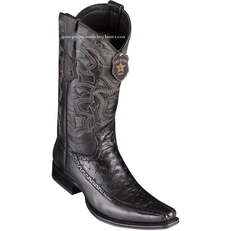 bb51085941d Men's Los Altos Full Quill Ostrich Boots With Deer European Square Toe  Handcrafted 76F0305