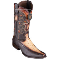 Men's Los Altos Full Quill Ostrich Boots With Deer European Square Toe Handcrafted 76F0315