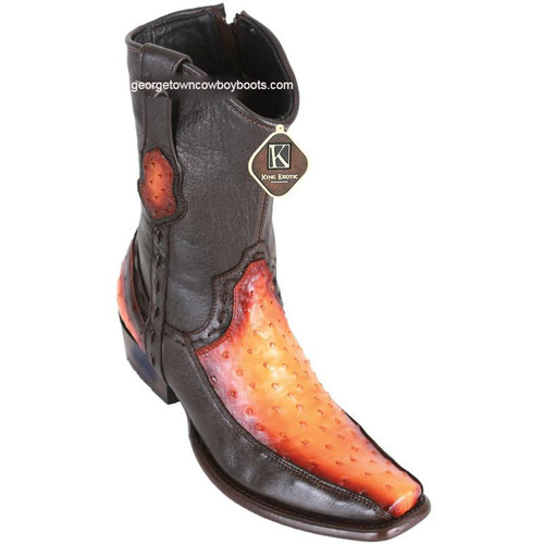 Men's King Exotic Ostrich Boots With Deer Dubai Toe Handcrafted 479BF0301