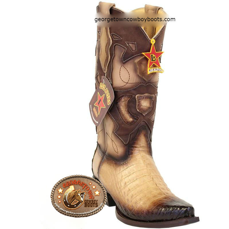 7b1a94af975 Men's Los Altos Caiman Belly Snip Toe Boots Handcrafted 94R8215
